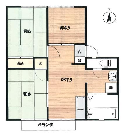今宿モールサイドⅢ・323号室の間取り