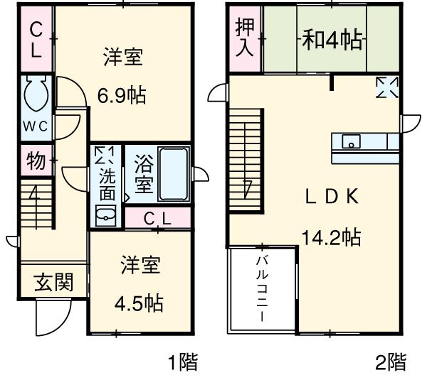 桃栄2-210KODATEXⅠ・B号室の間取り