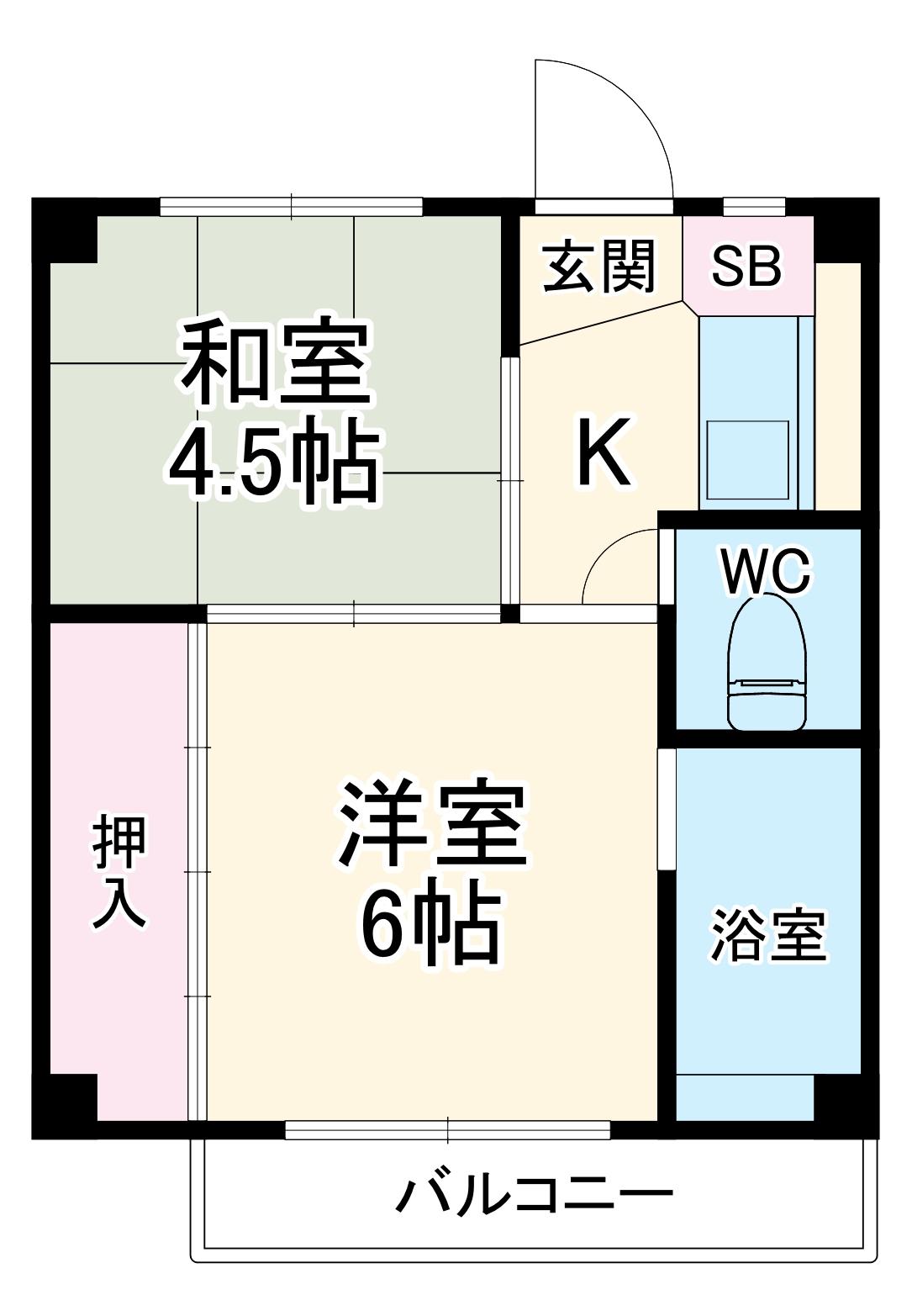 ビレッジハウス川井宿6号棟・205号室の間取り