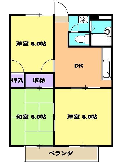 グリーンハイム岡田C・00106号室の間取り