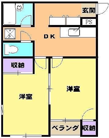 コーポラス改田・S25号室の間取り