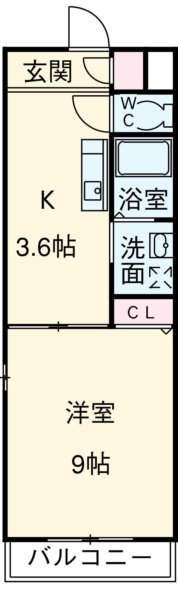 クレアール古城Ⅱ・108号室の間取り