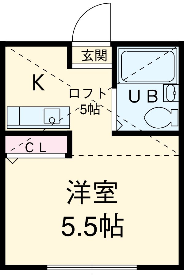 ハーミットクラブハウス鶴ヶ峰D・204号室の間取り