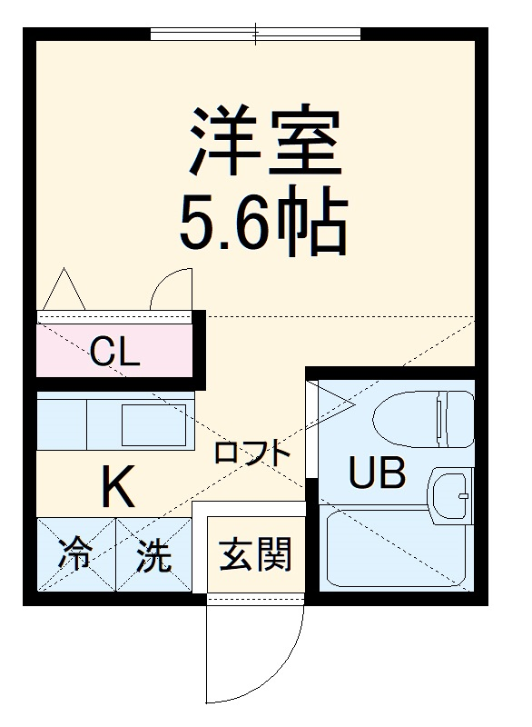 ハーミットクラブハウス鶴ヶ峰E・102号室の間取り