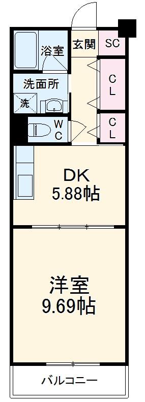 ロイヤルパーク多摩川・433号室の間取り