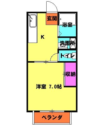 パナハイツ松村A 6号室の間取り