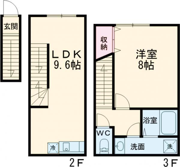 プライムガーデン桜新町・204号室の間取り
