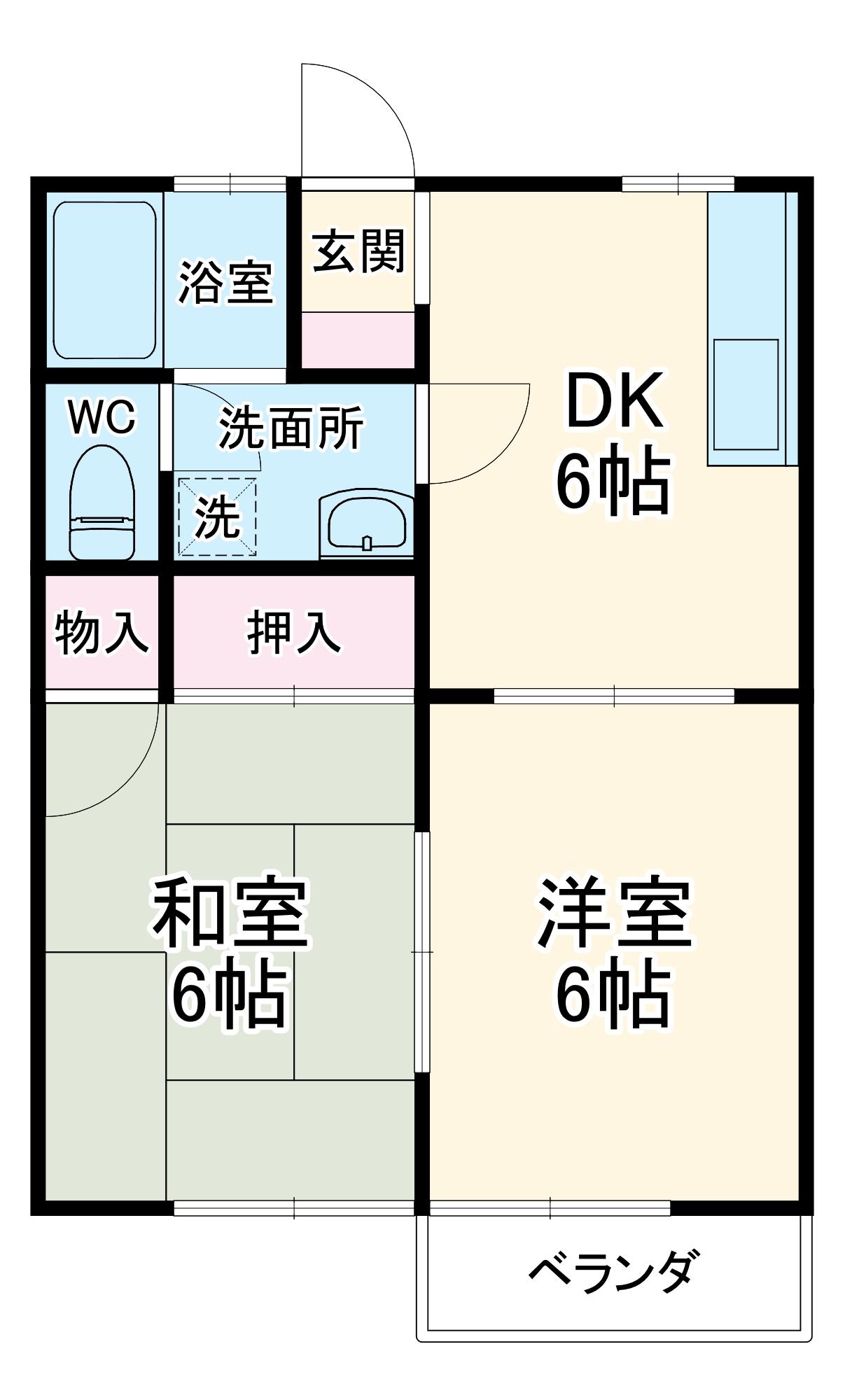 昭和コーポ富田・101号室の間取り