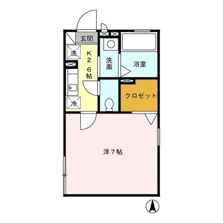 コスモハイツAB・B203号室の間取り