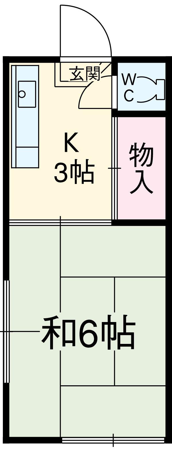 片山荘・B-2号室の間取り