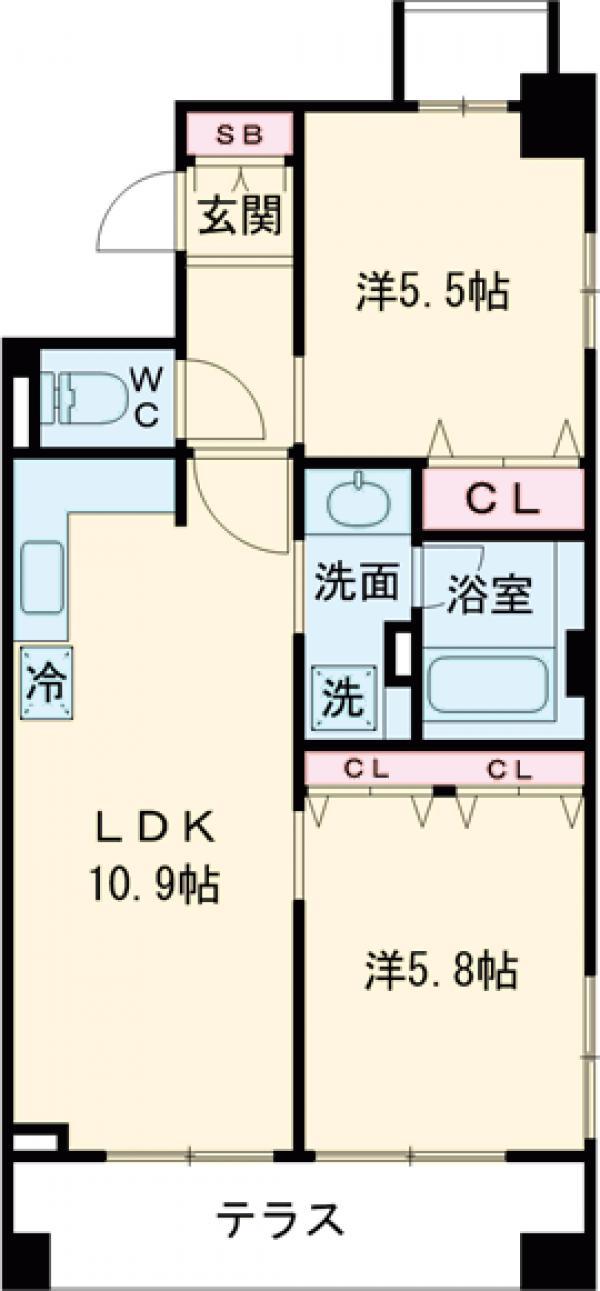 クリオ上野毛ラ・モード・105号室の間取り