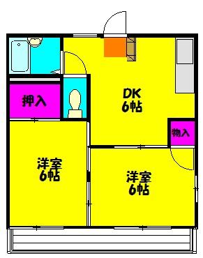 ハイツARAI・202号室の間取り