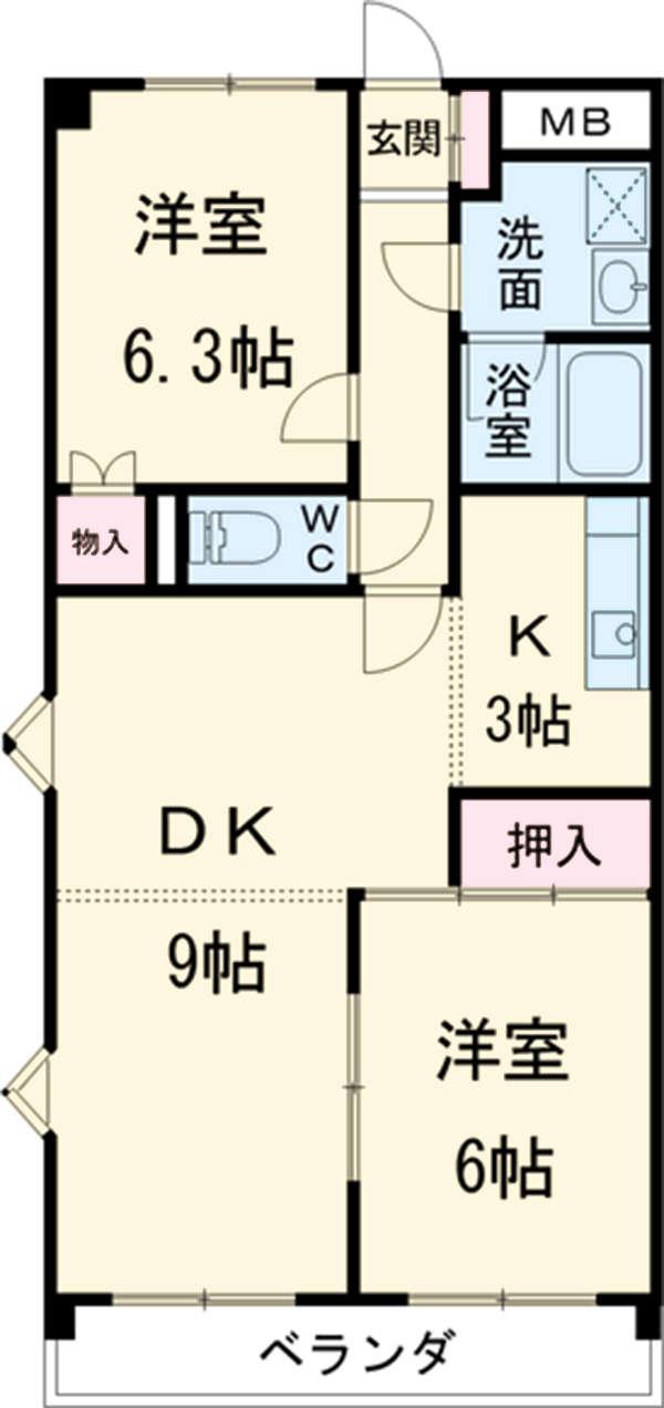 メゾンドヨサミA・309号室の間取り