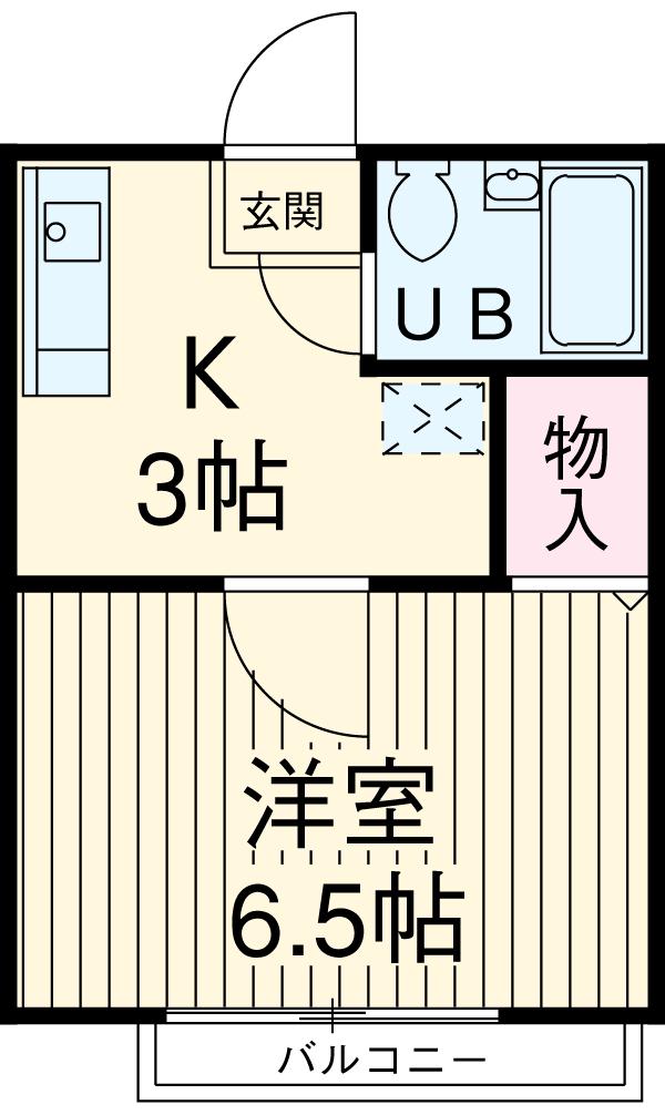 國恵ハイツA棟 201号室の間取り
