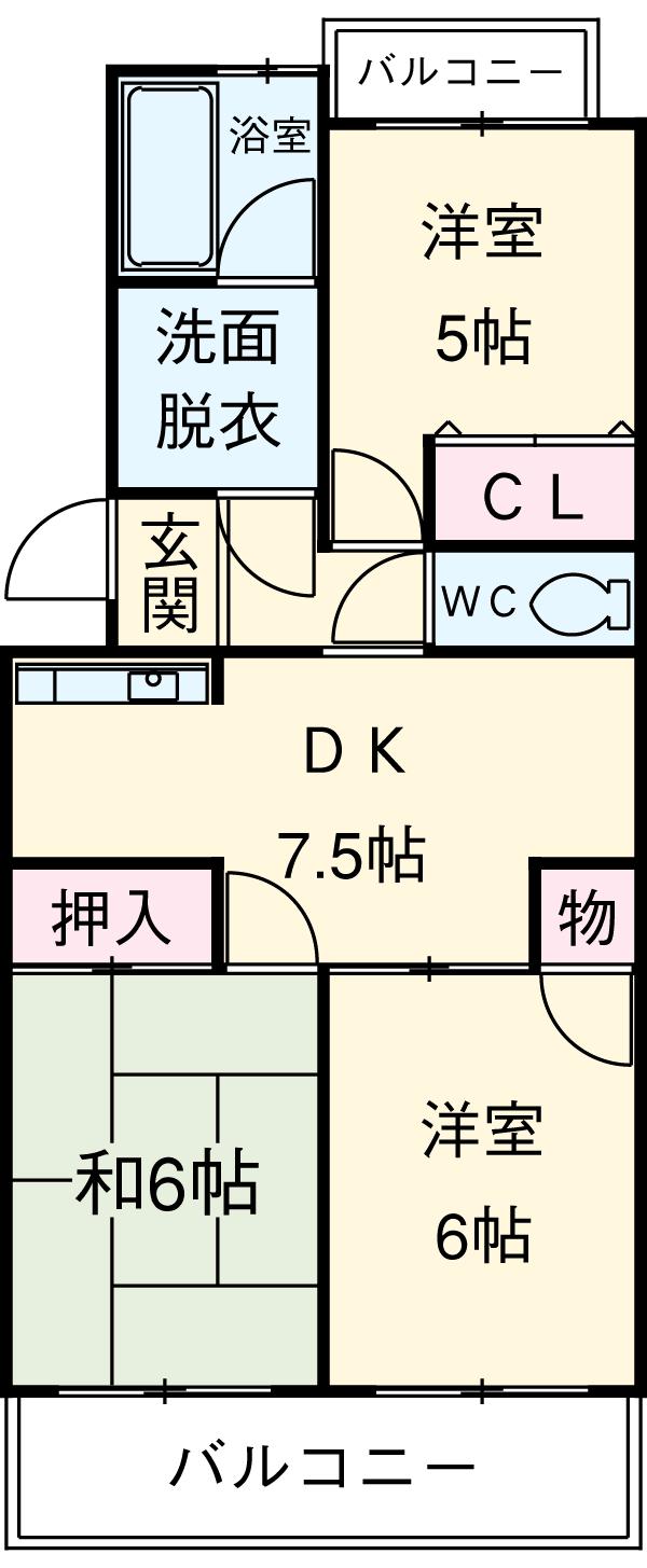 リバーパークマンション 102号室の間取り