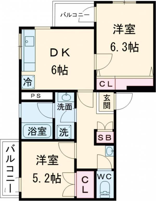 桜台コートハウス・203号室の間取り