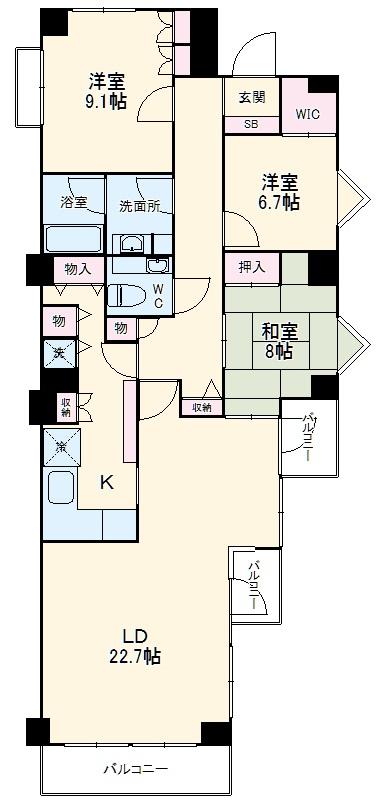 ベイサイドリゾート金沢八景・604号室の間取り