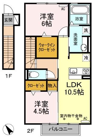 D-room別名A・205号室の間取り