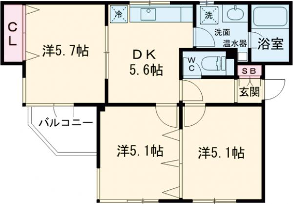 コンフォール桜新町 101号室の間取り