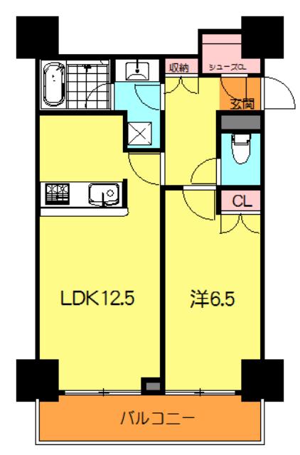サンコリーヌタワー横須賀中央駅前 208号室の間取り