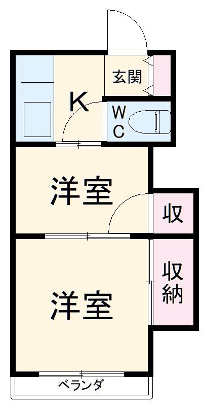第1鈴木荘・205号室の間取り