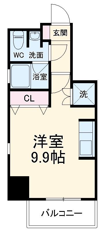 カサプラティーノ名古屋ノルテ・803号室の間取り
