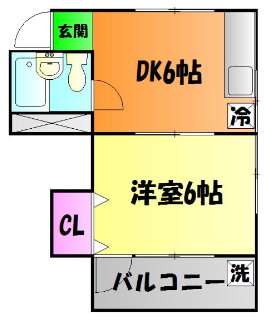 コーポ鎌田・203号室の間取り