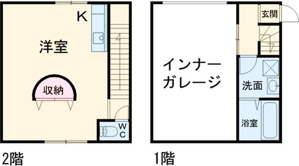 ガレージCUBEⅢ・5号室の間取り