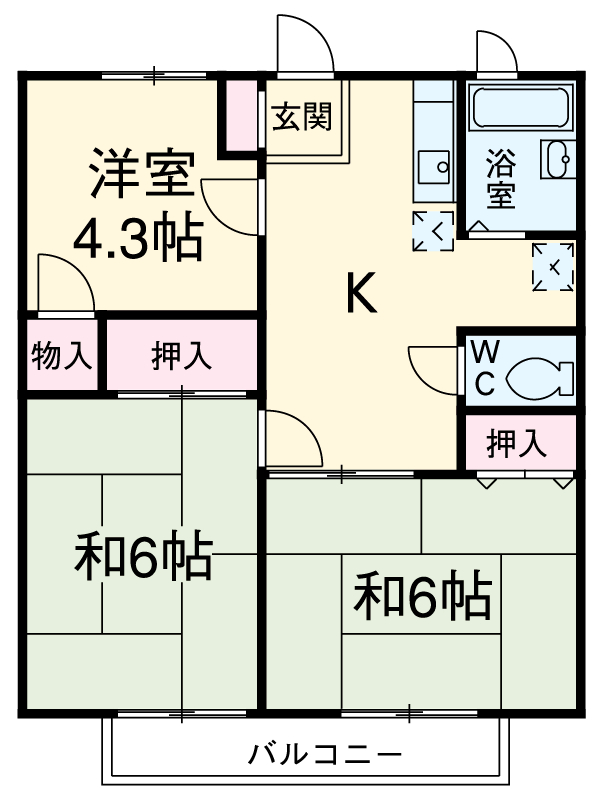 サンヒル富岡・102号室の間取り