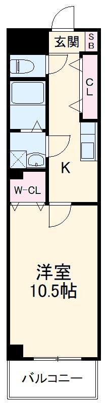 B-EK22・203号室の間取り
