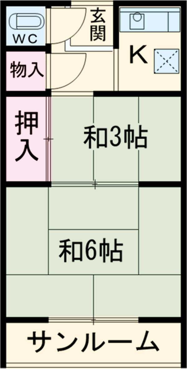 富田荘・S-5号室の間取り