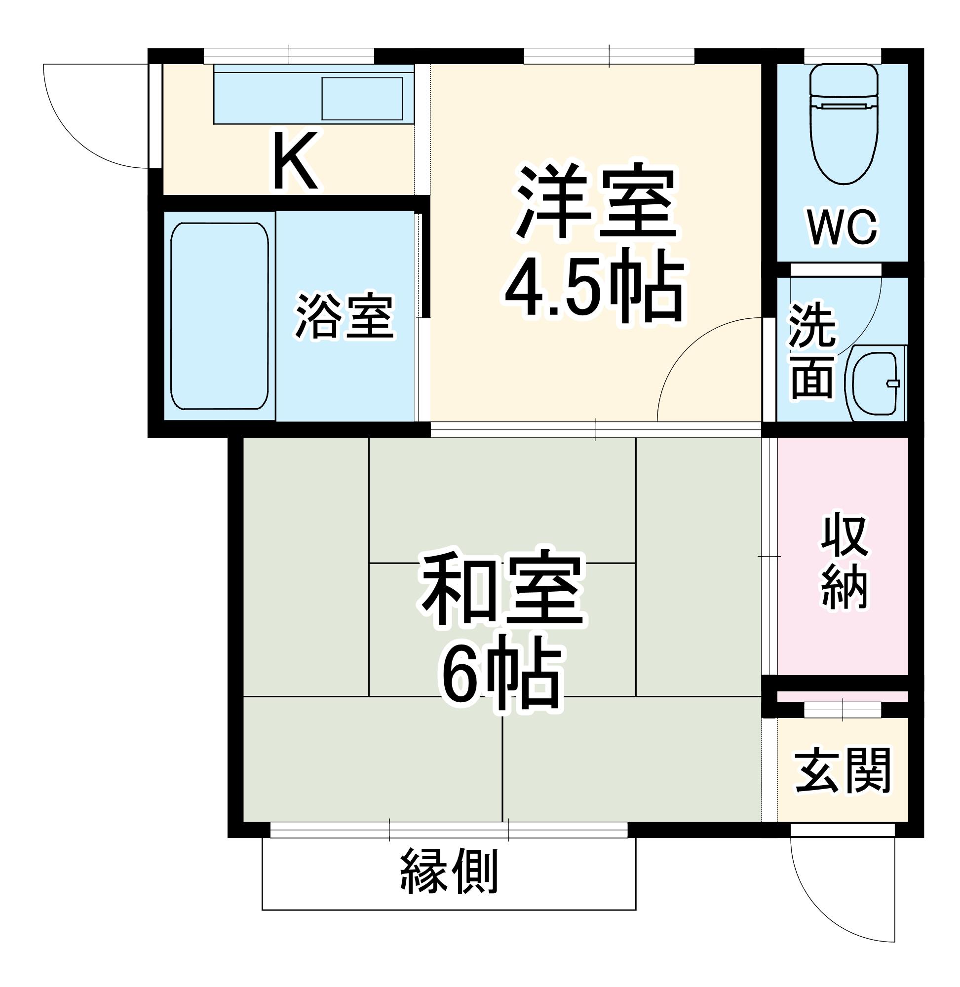 大沢アパート・2号室の間取り