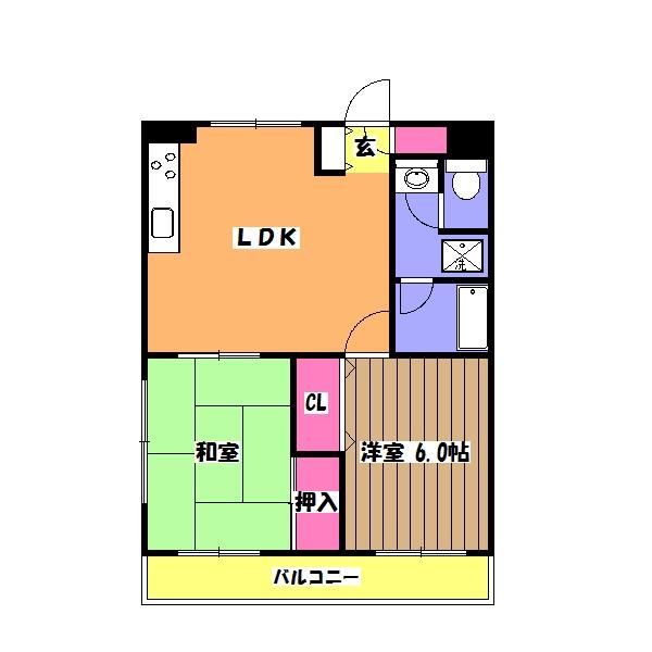 上志津田中ハイツA・102号室の間取り