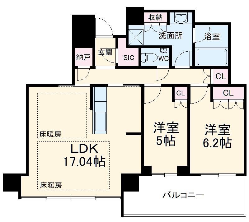 プレミスト天神赤坂タワー 1806号室の間取り