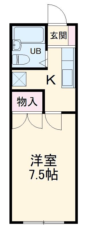 ヴェラハ菊川・102号室の間取り