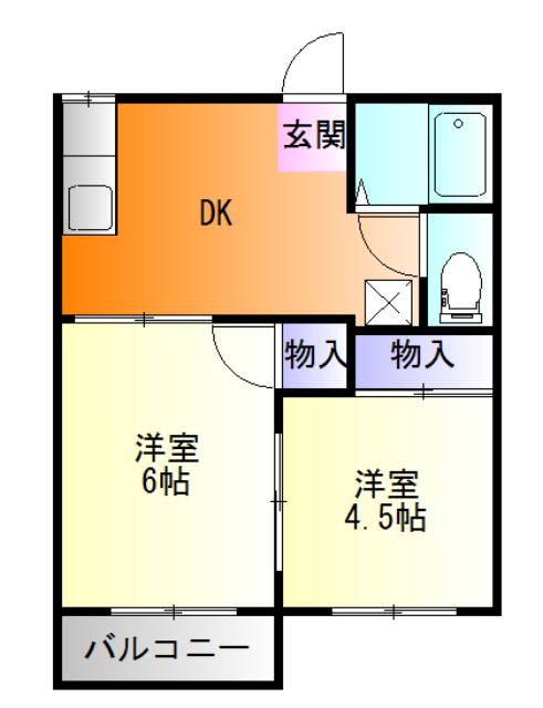 掛川メゾンオークラA棟・201号室の間取り