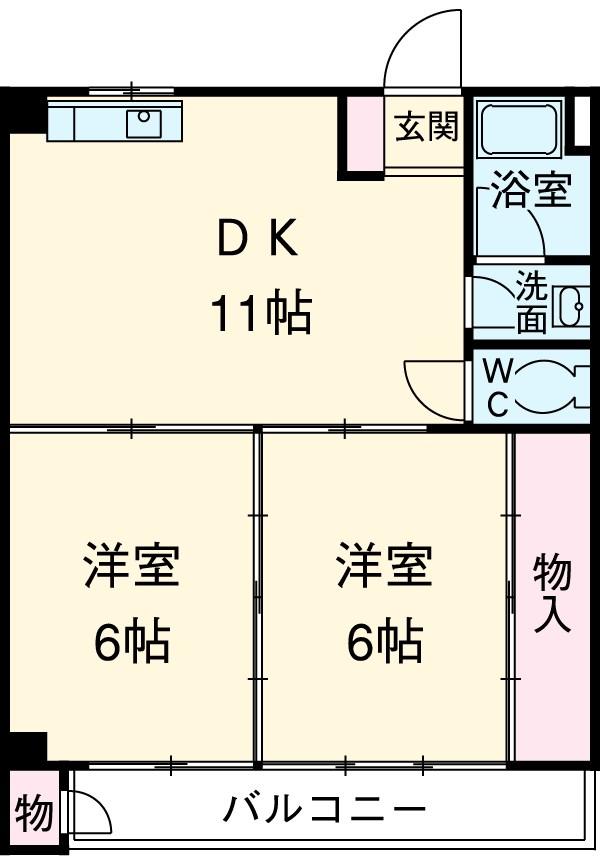 ミヅホビル・5D号室の間取り