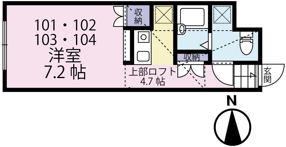 MINA NIJUKU・104号室の間取り