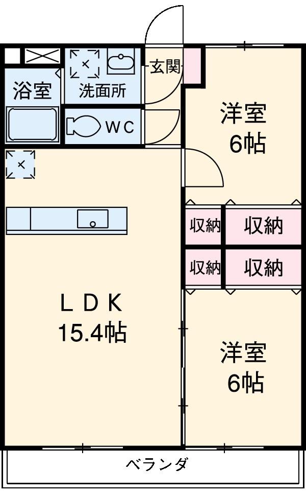 クレアールⅡ・405号室の間取り
