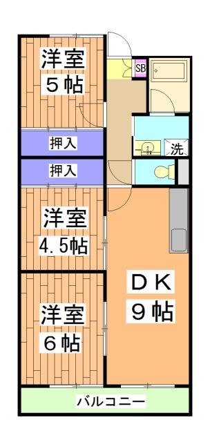 中川第6コーポ 605号室の間取り