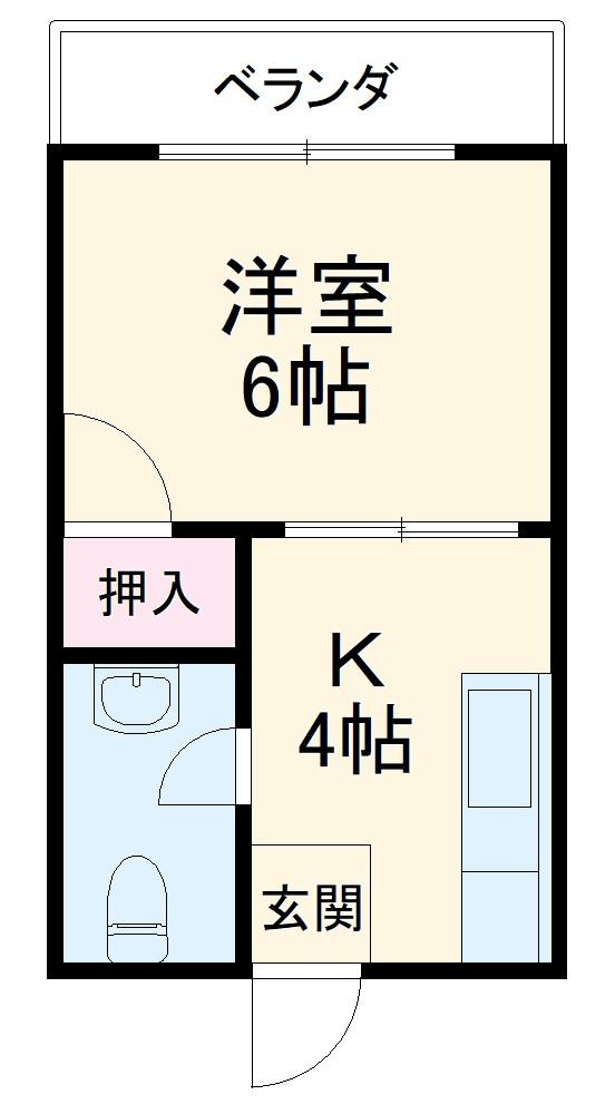 山城アパート・203号室の間取り