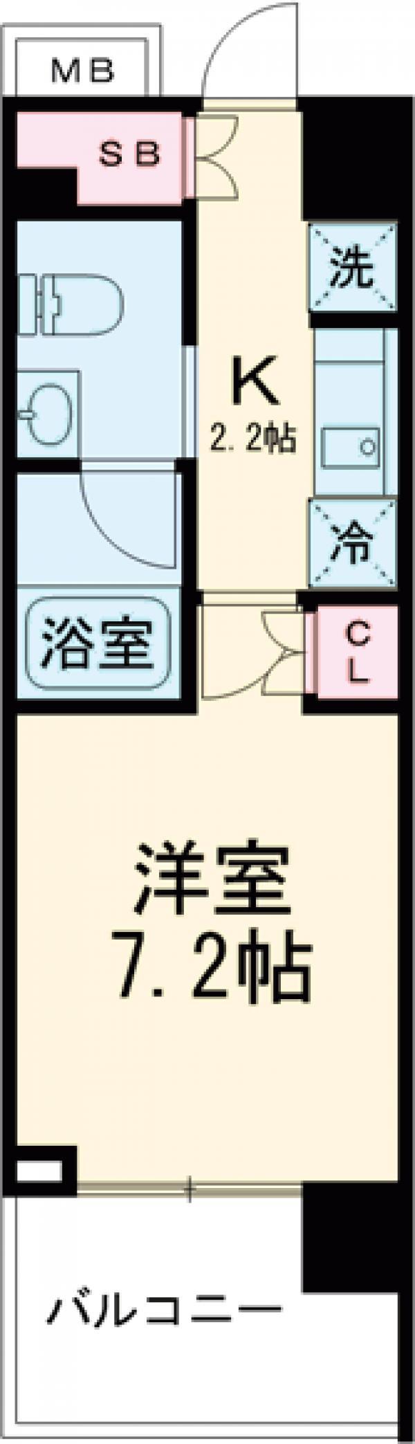 プライムメゾン早稲田通り・406号室の間取り