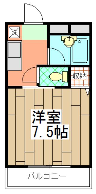 CASA井 3-B号室の間取り
