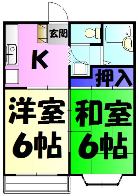 KⅢアパート 105号室の間取り