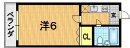 エスポアール小西・109号室の間取り