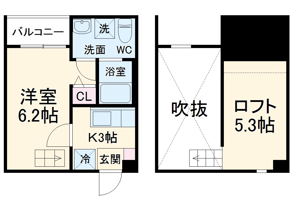 pavillon honnete biwajima 105号室の間取り