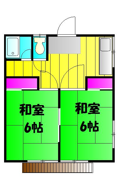 サニーコート(藤岡町)・201号室の間取り