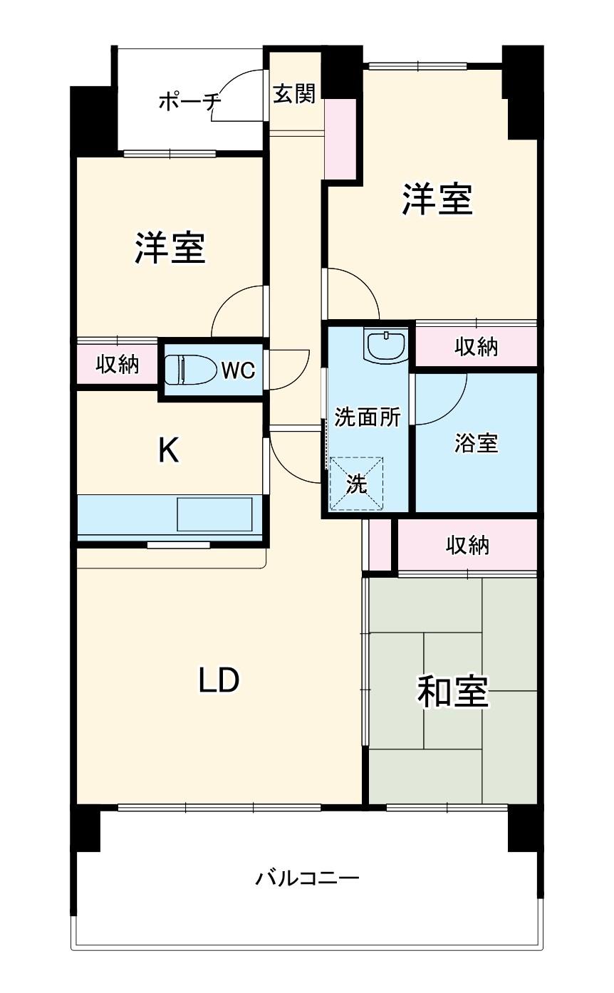 東川口ガーデンプラザ五番館・402号室の間取り