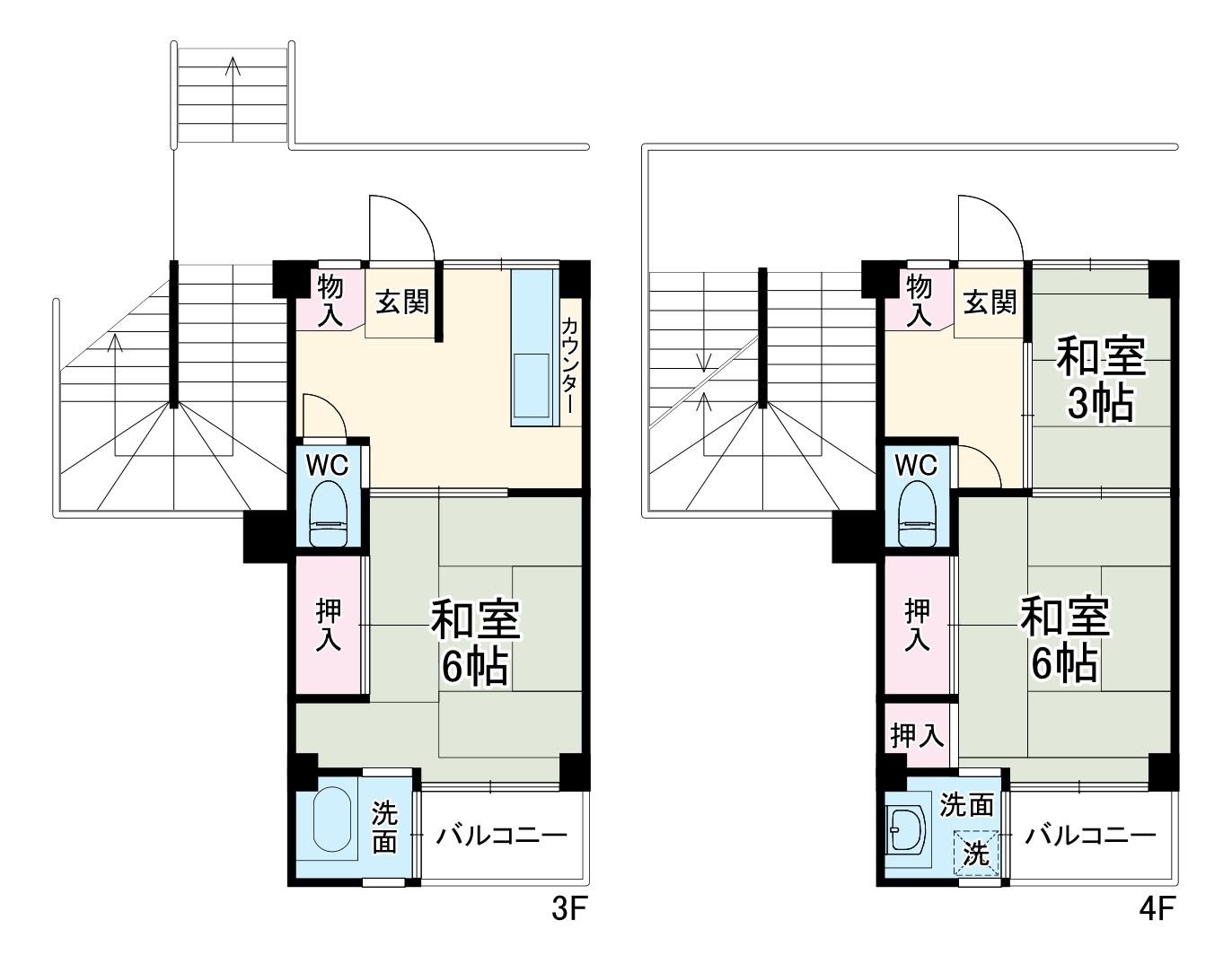 ビレッジハウス江戸川台3号棟・308号室の間取り