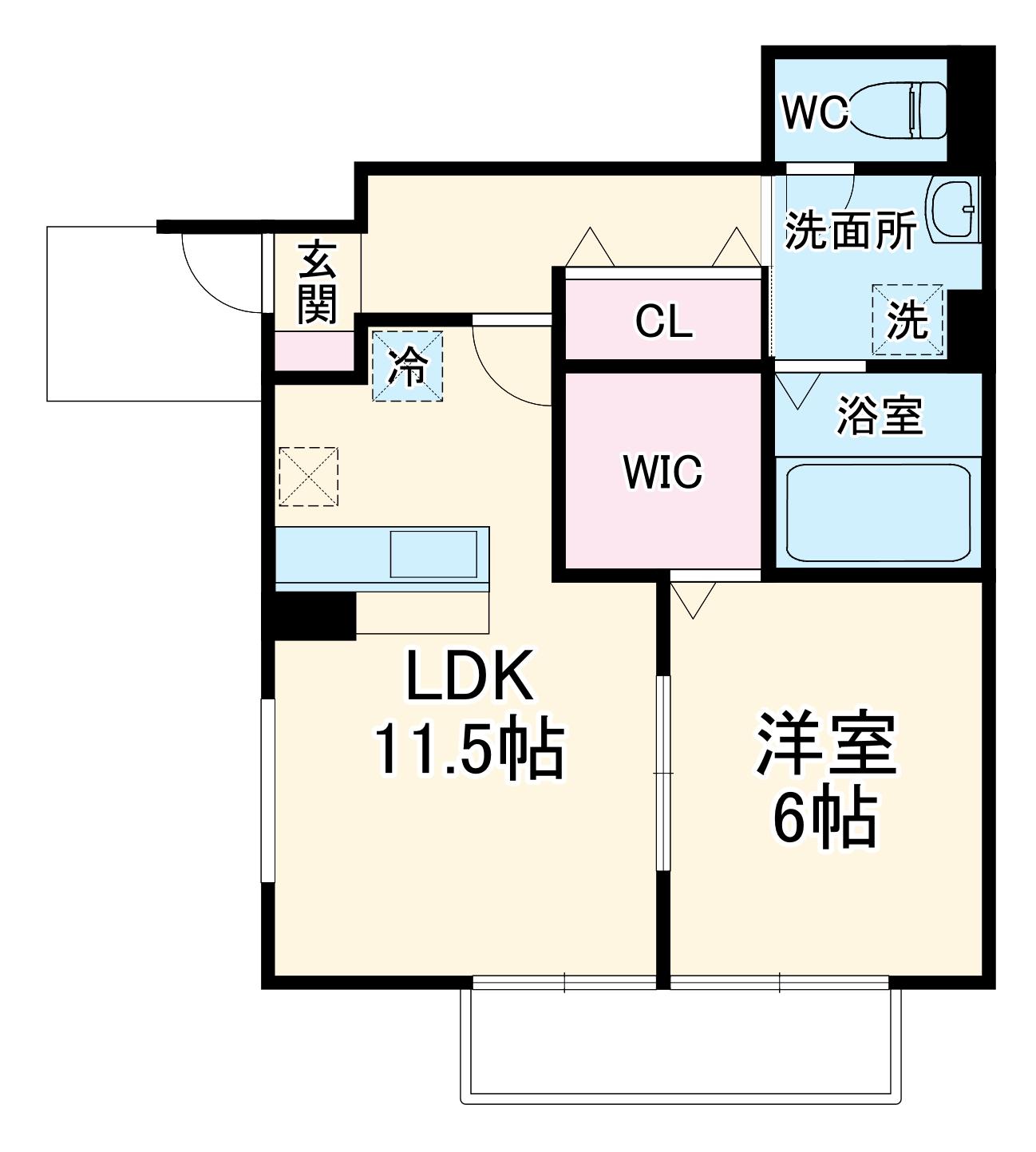T-RoomⅡ・101号室の間取り